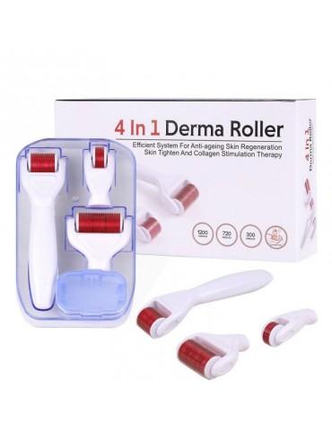 Dermaroller - rolă dermatologică 4 în 1 cu ace din oțel inoxidabil